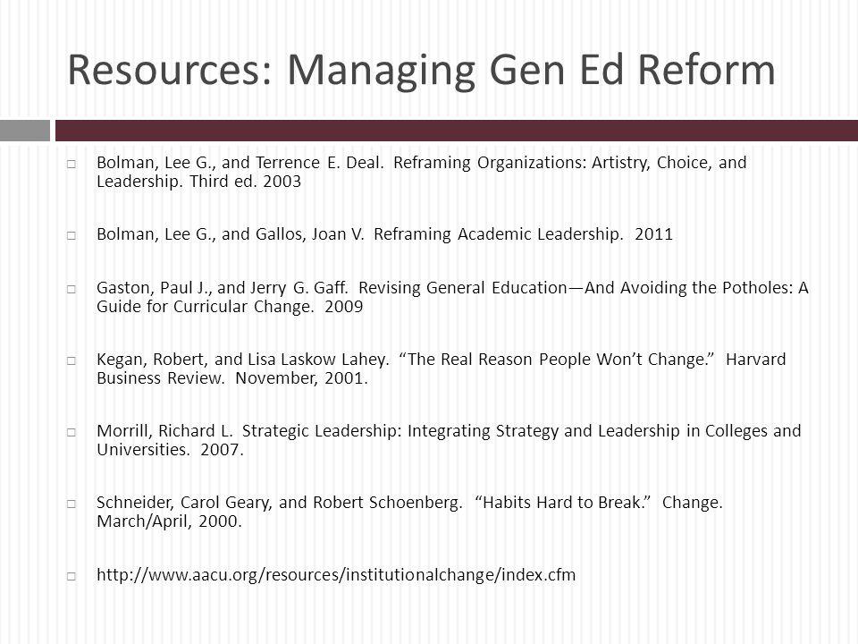 Resources: Managing Gen Ed Reform
