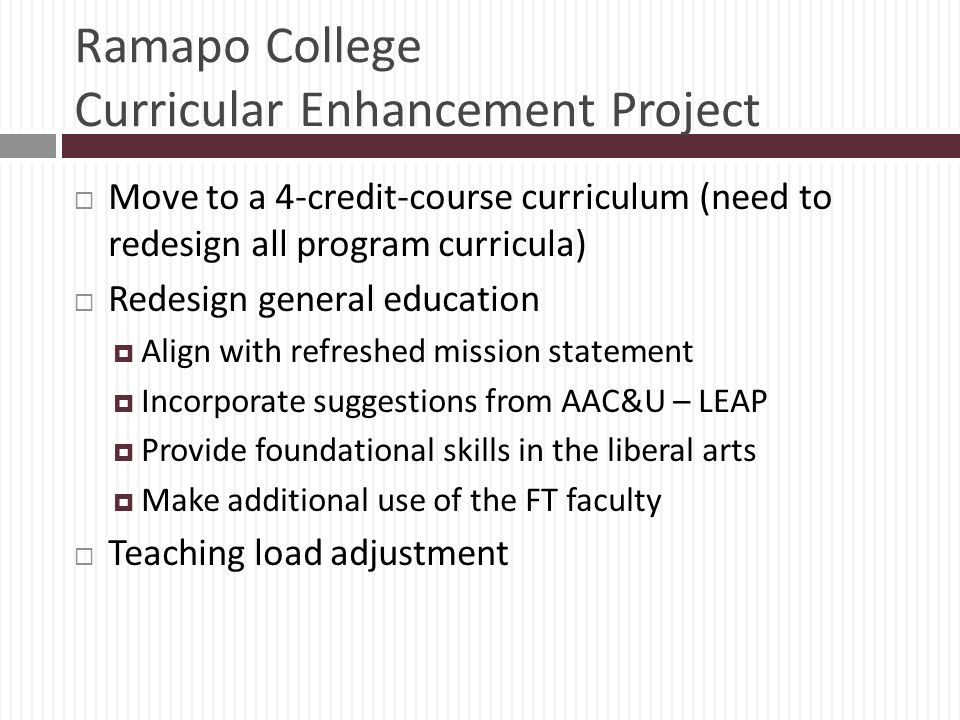Ramapo College Curricular Enhancement Project