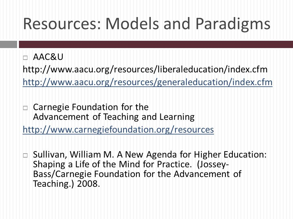 Resources: Models and Paradigms