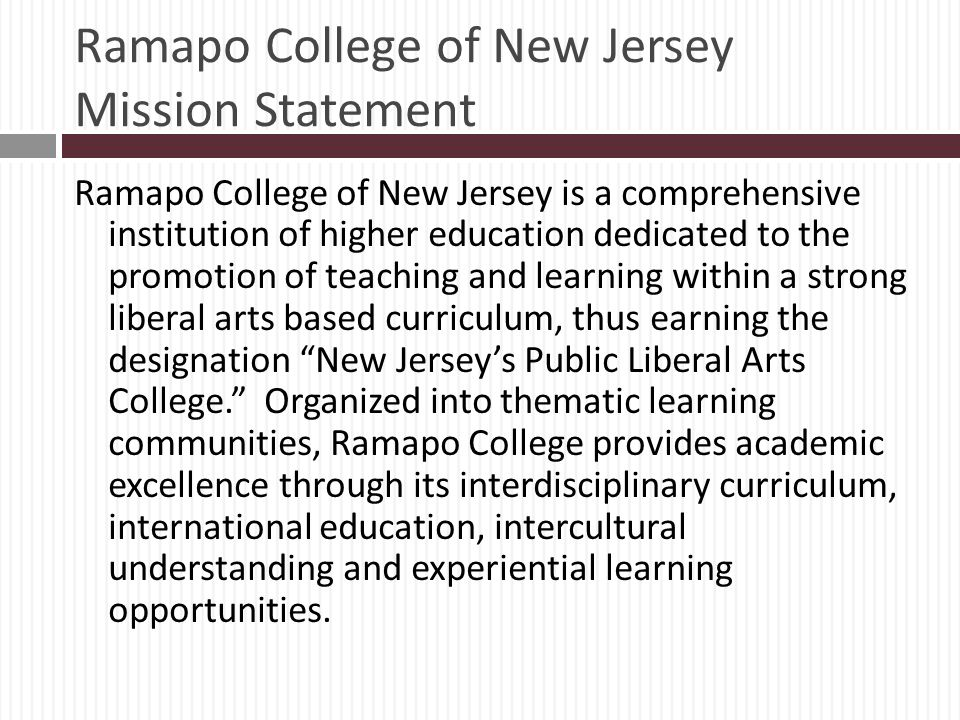 Ramapo College of New Jersey Mission Statement