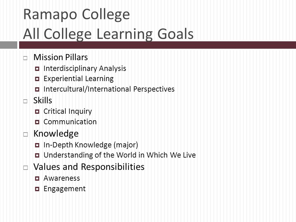 Ramapo College All College Learning Goals