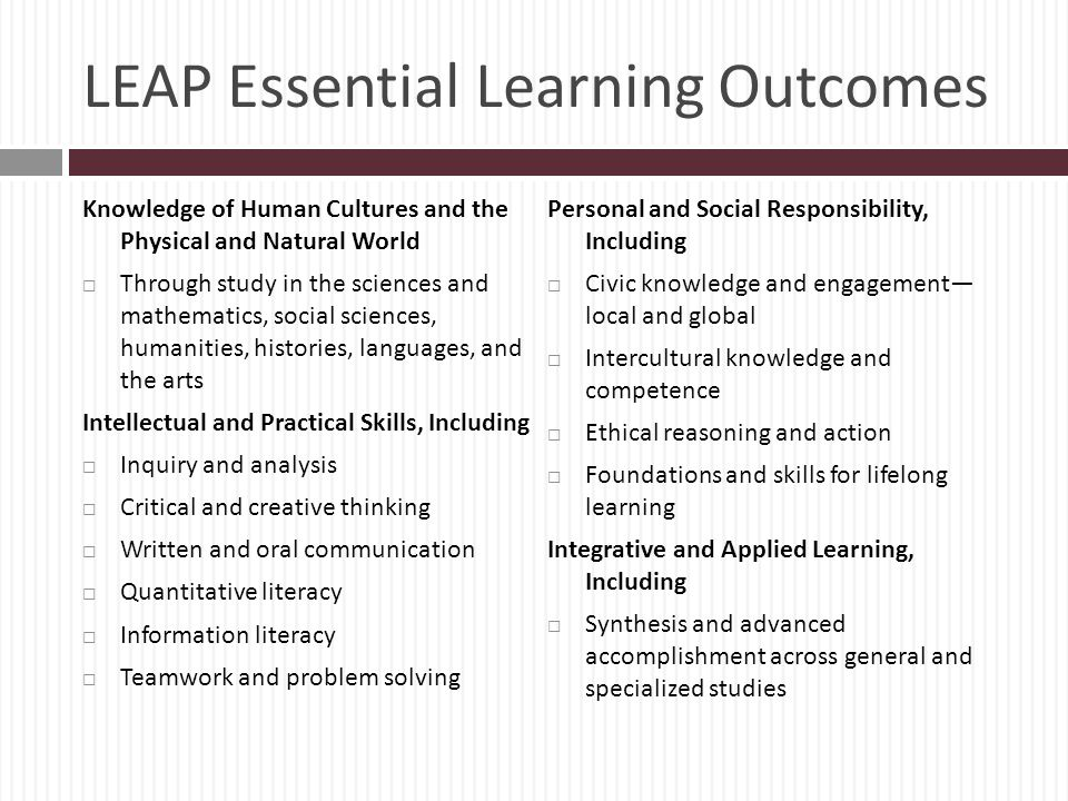 LEAP Essential Learning Outcomes