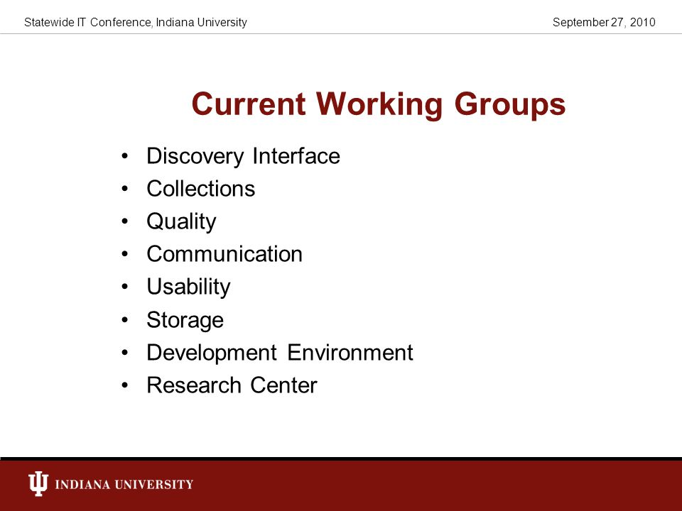 Current Working Groups