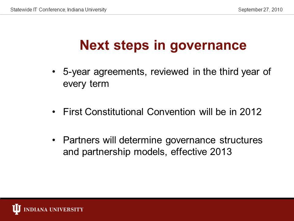 Next steps in governance