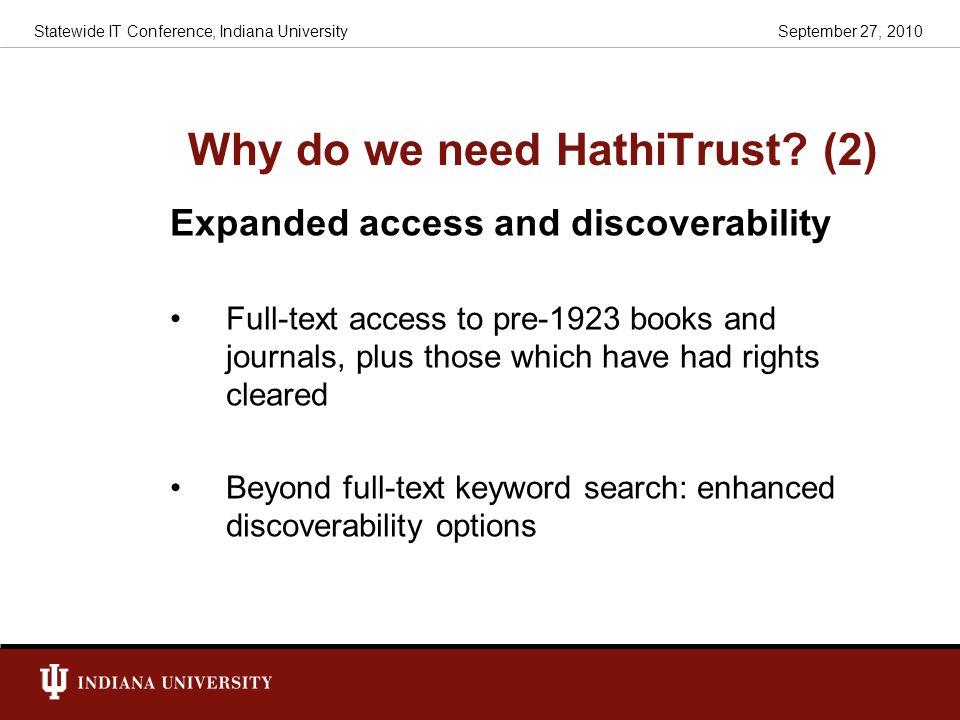 Why do we need HathiTrust (2)