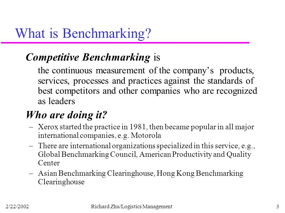 Benchmarking can be applied to any business processes.