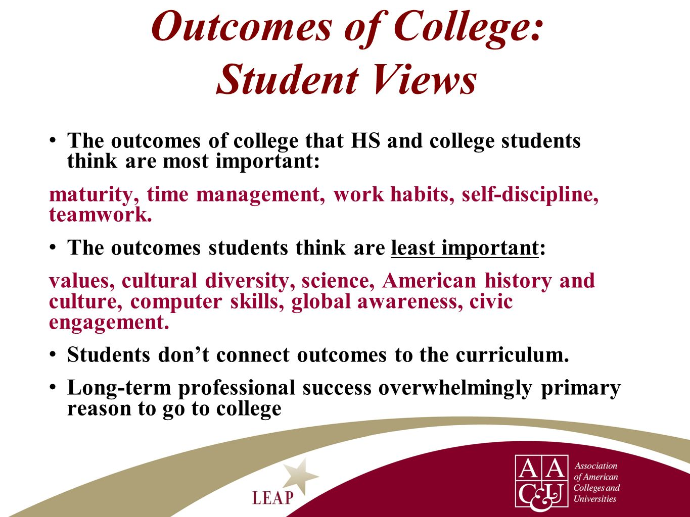 Outcomes of College: Student Views