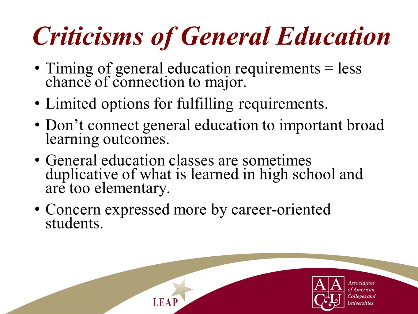 Criticisms of General Education