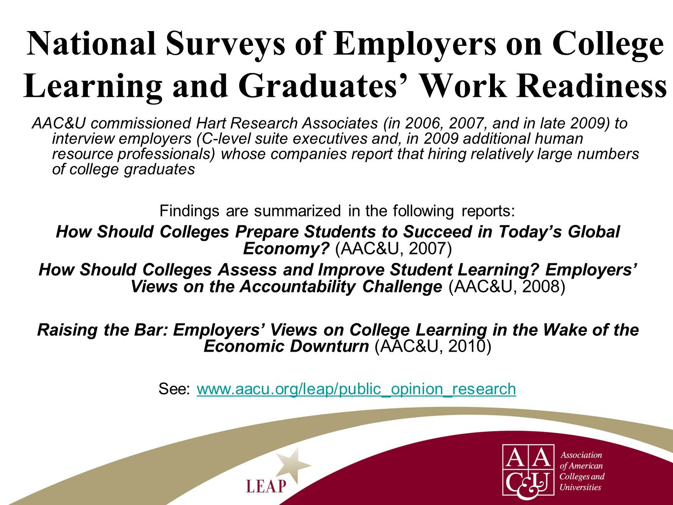 National Surveys of Employers on College Learning and Graduates' Work Readiness