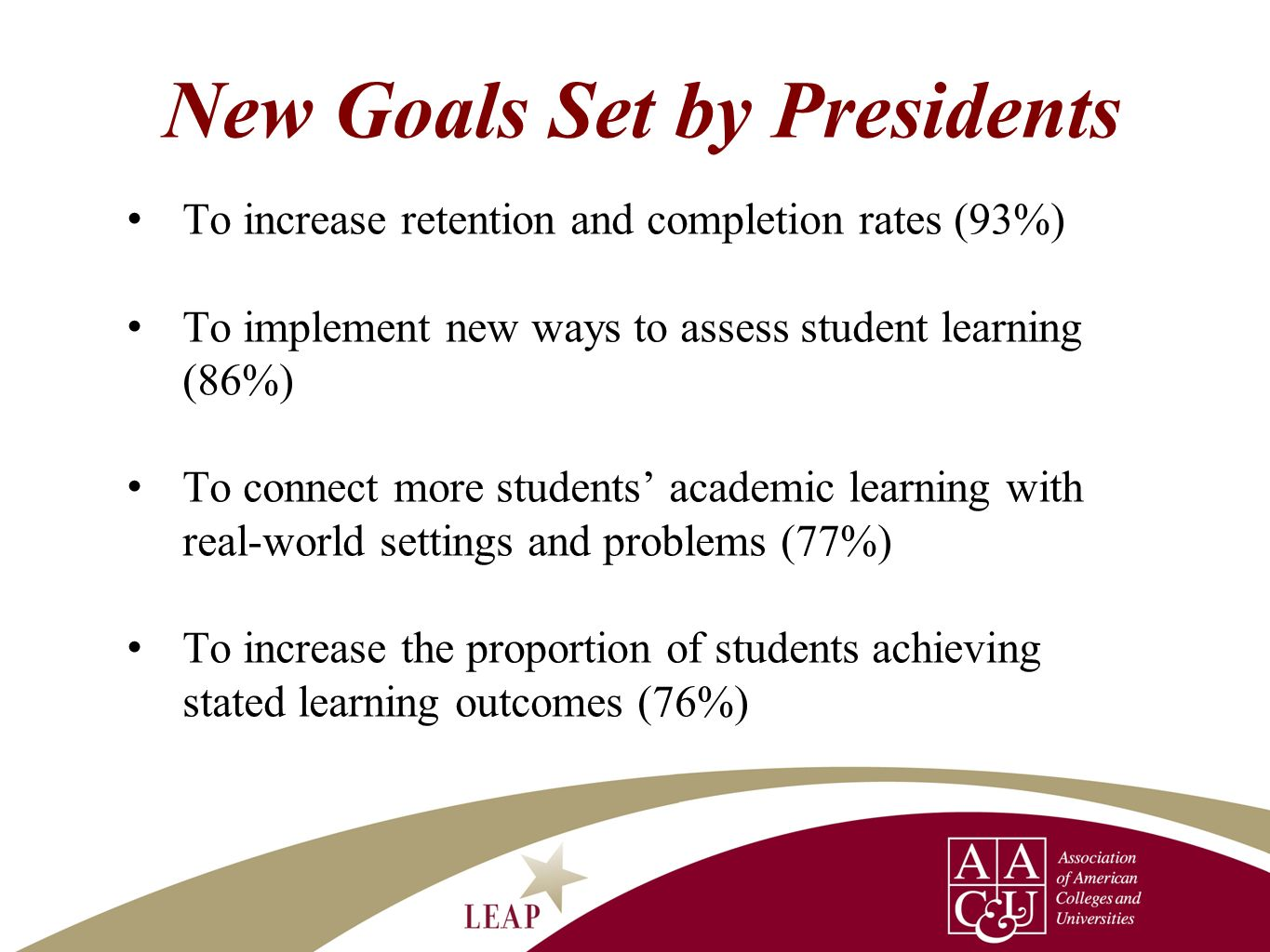 New Goals Set by Presidents