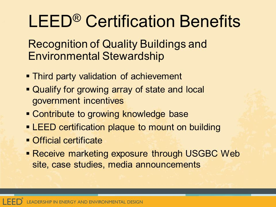 An introduction to the u s ppt download for Benefits of leed