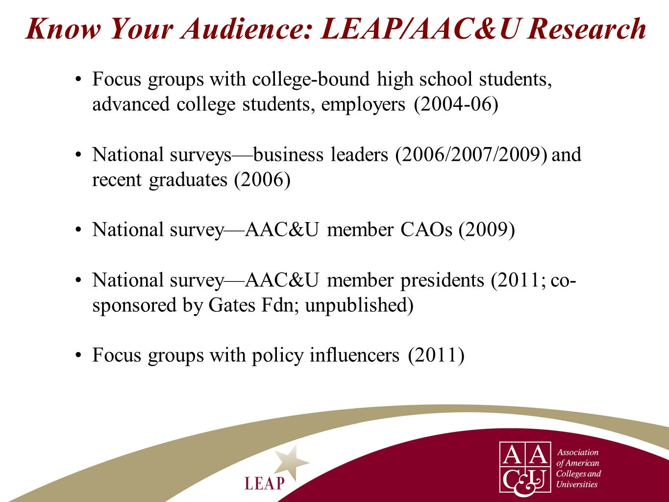 Know Your Audience: LEAP/AAC&U Research