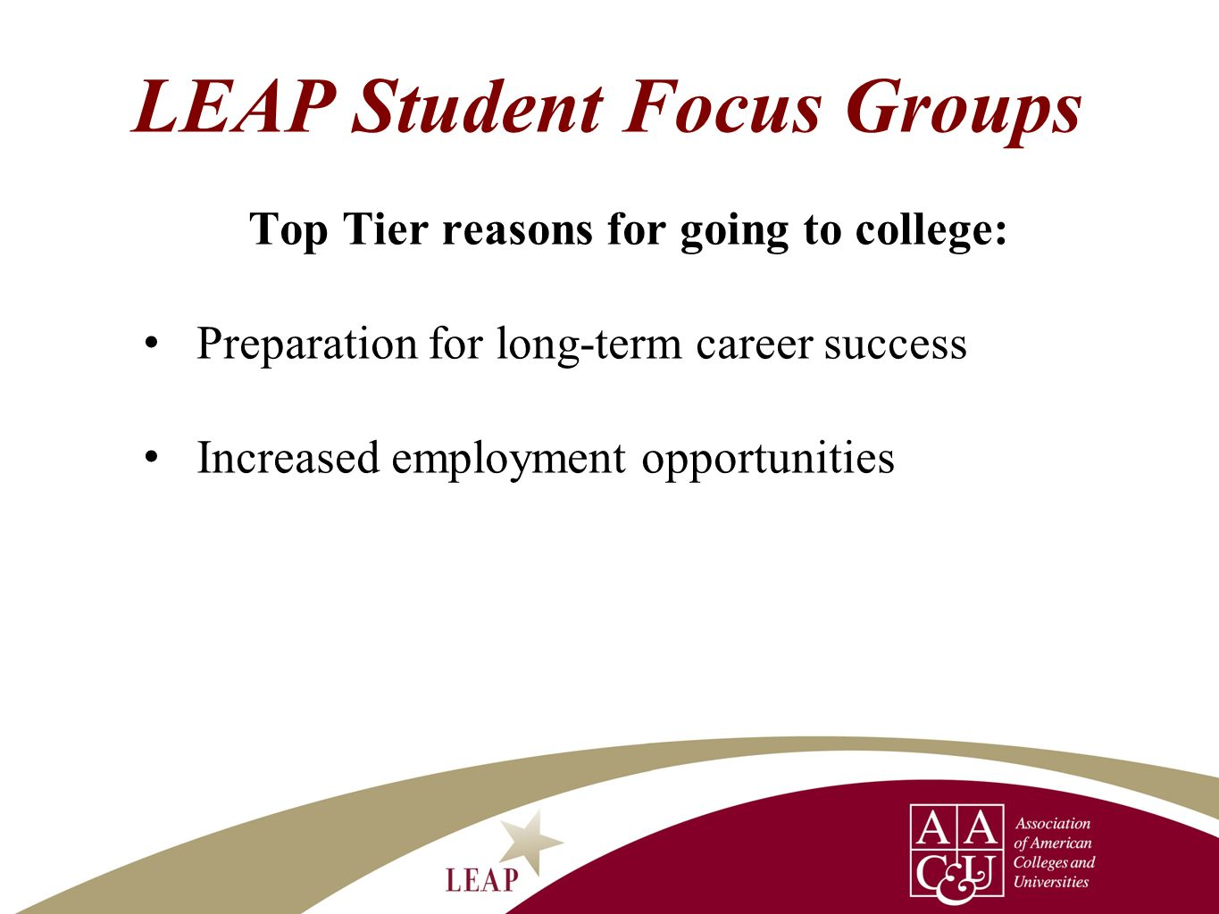LEAP Student Focus Groups