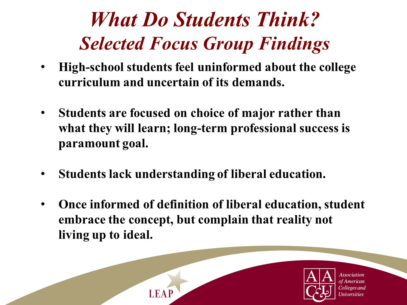 What Do Students Think Selected Focus Group Findings