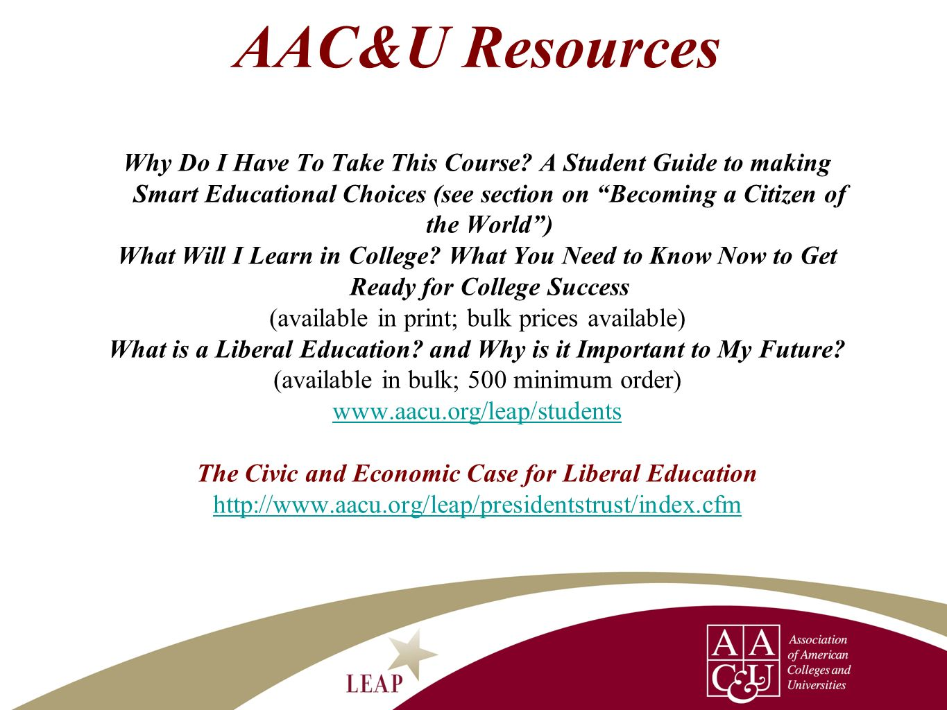 AAC&U Resources