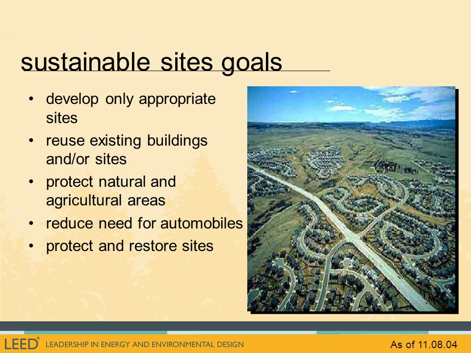 sustainable sites goals