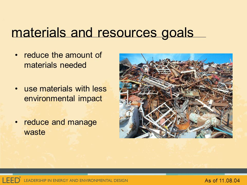 materials and resources goals