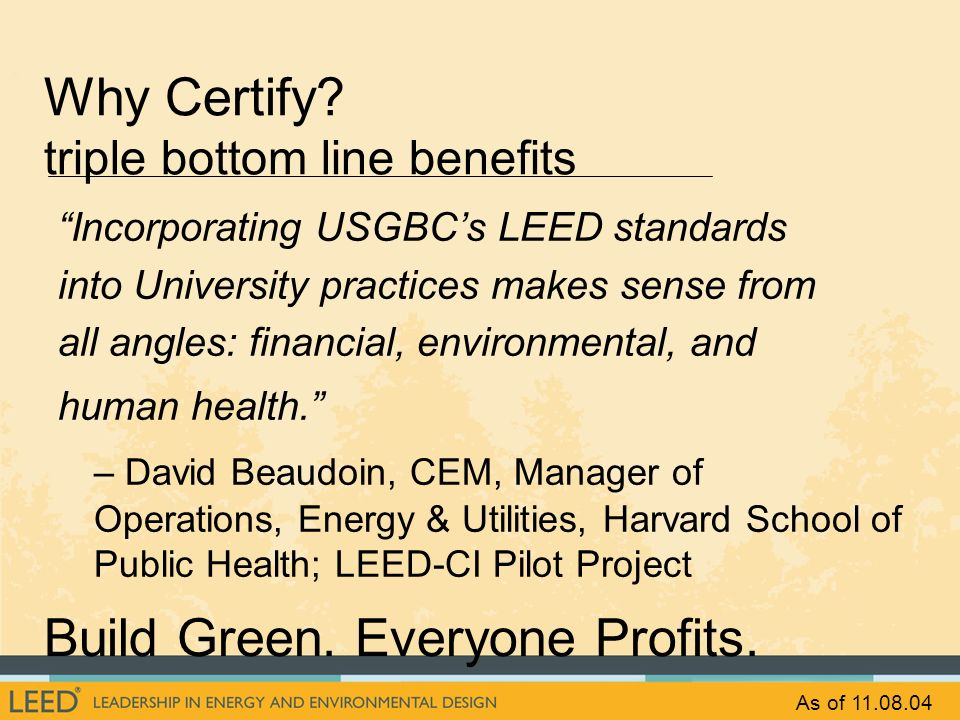 Why Certify triple bottom line benefits