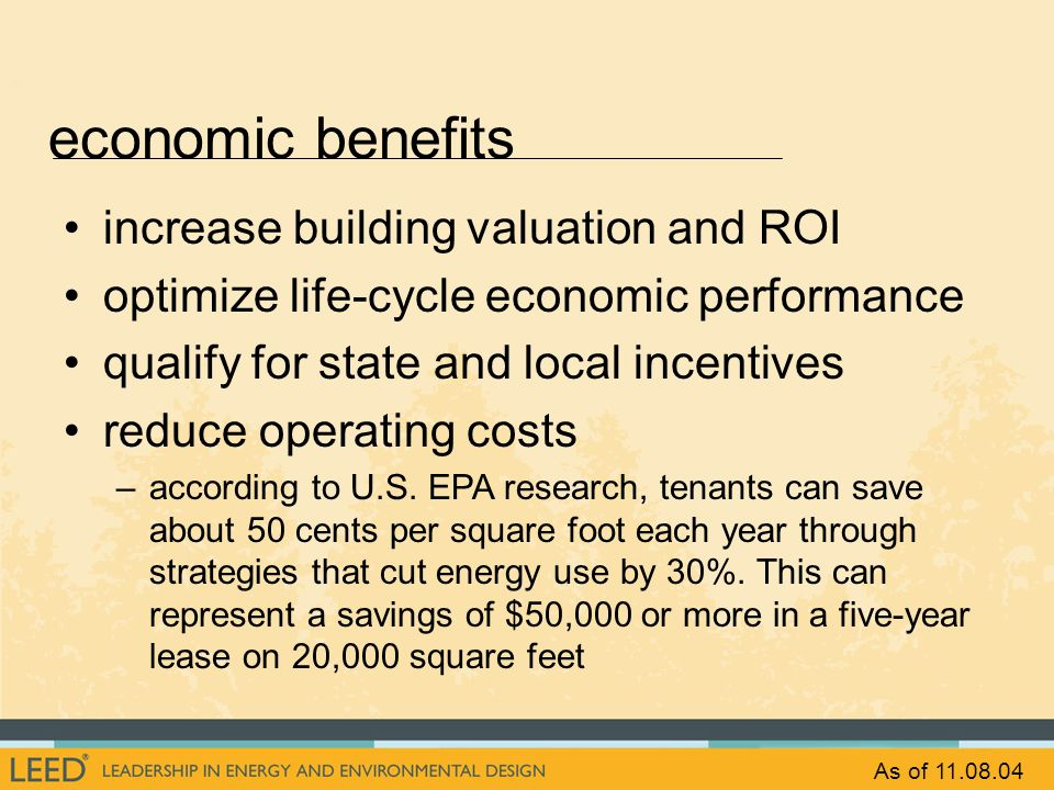 economic benefits increase building valuation and ROI