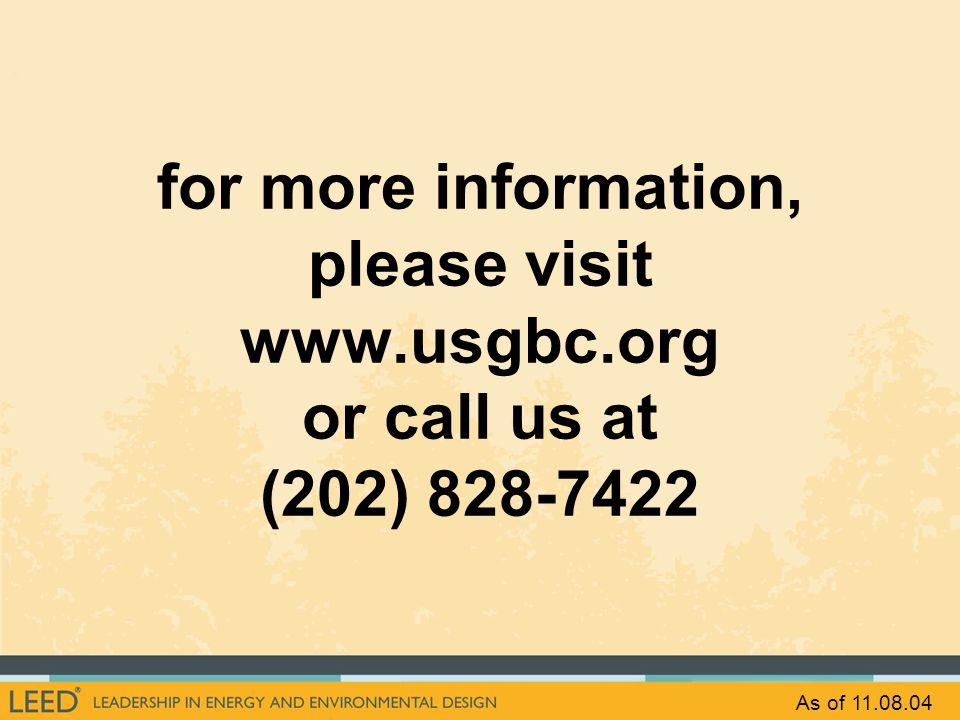 for more information, please visit www. usgbc