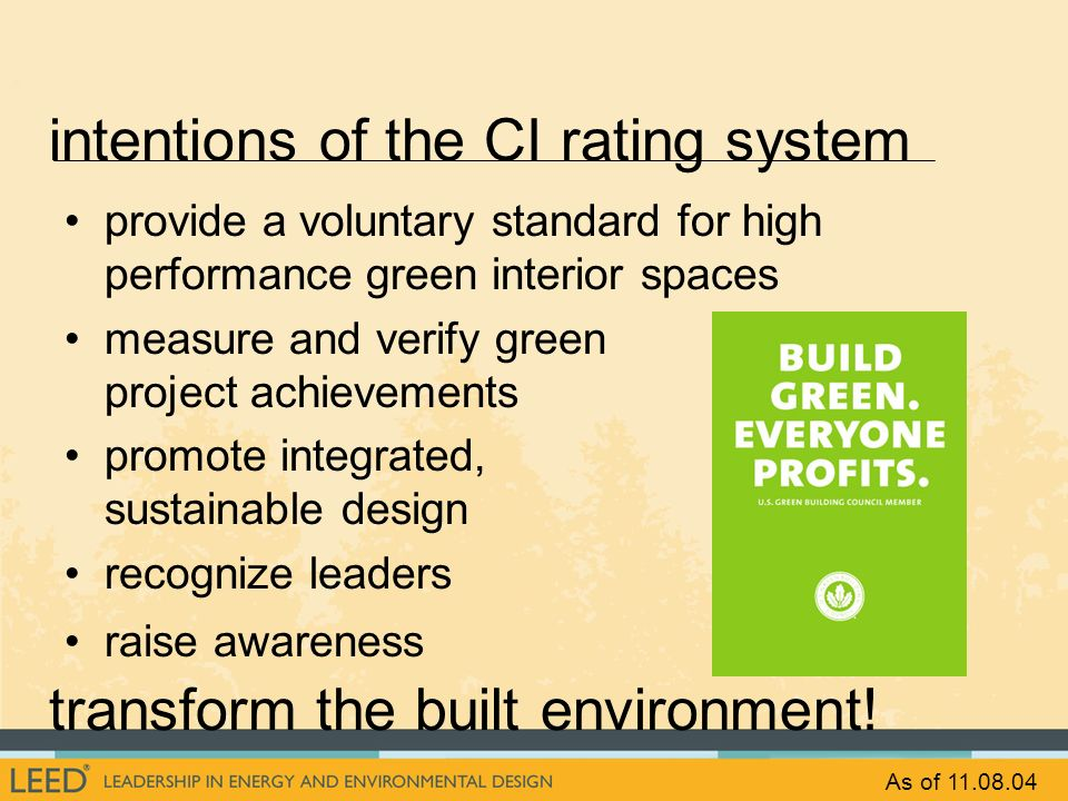 intentions of the CI rating system