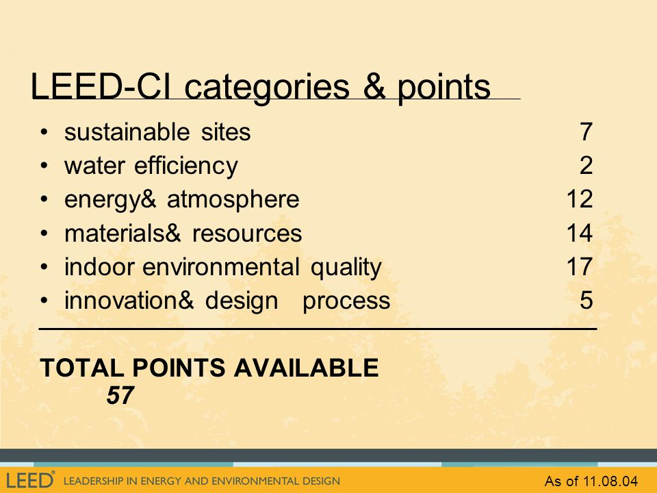 LEED-CI categories & points