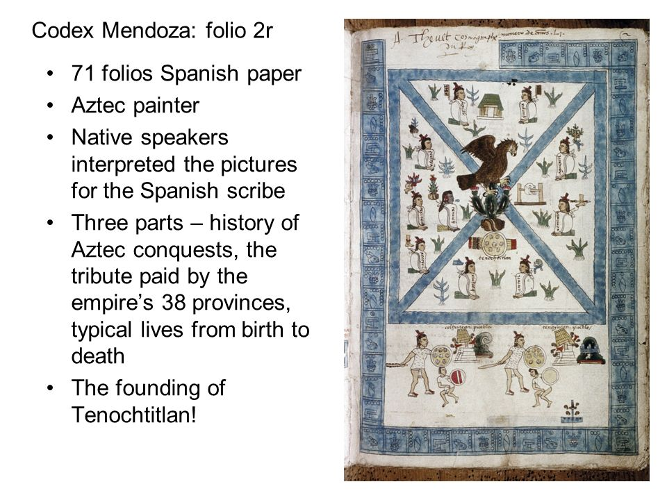 Codex Mendoza: folio 2r 71 folios Spanish paper. Aztec painter. Native speakers interpreted the pictures for the Spanish scribe.