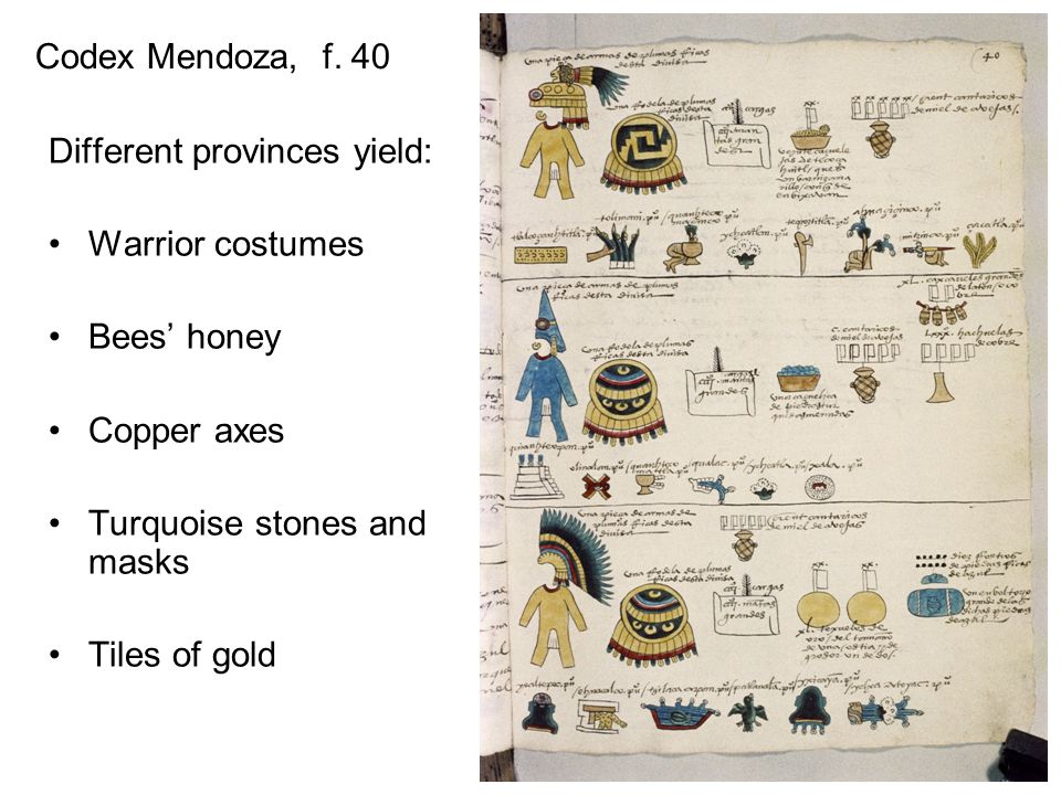 Codex Mendoza, f. 40 Different provinces yield: Warrior costumes. Bees' honey. Copper axes. Turquoise stones and masks.