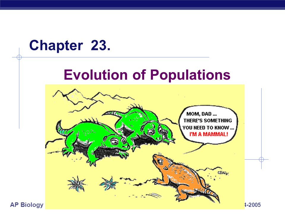 biology chapter 23 the evolution of populations Biology, 7e (campbell) chapter 23: the evolution of populations chapter questions 1) what is the most important missing evidence or observation in darwin's theory of 1859.