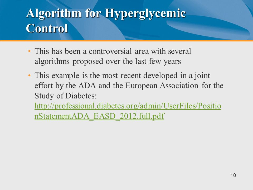 Algorithm for Hyperglycemic Control