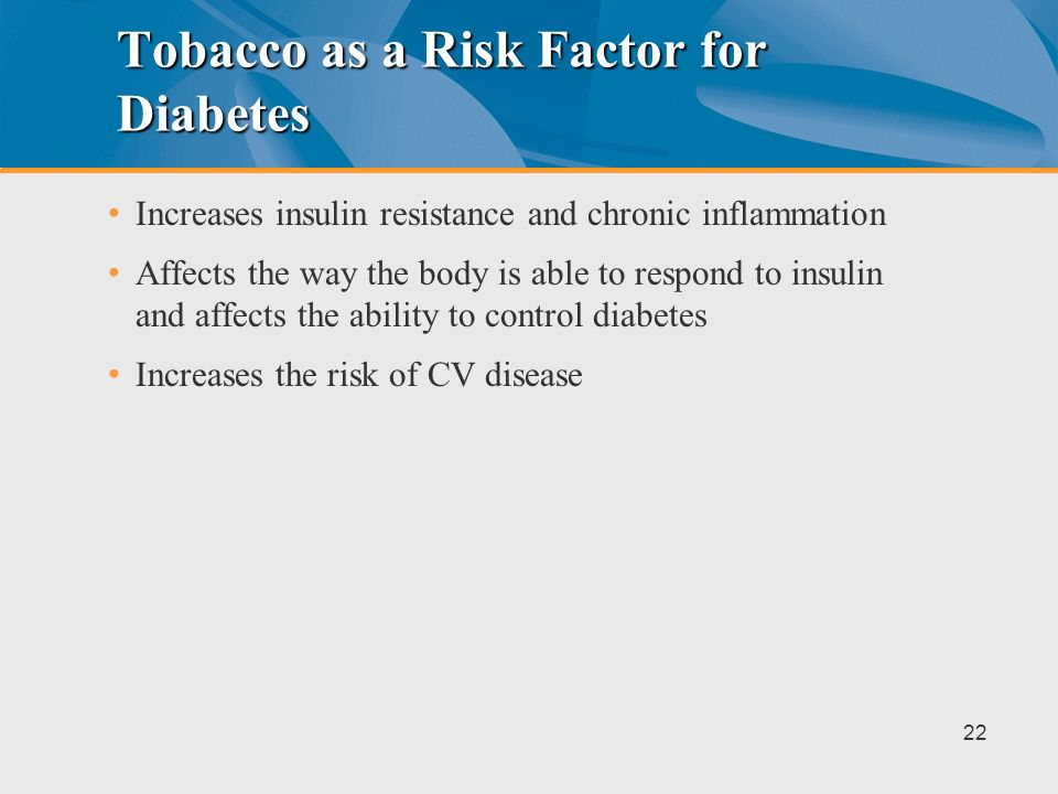 Tobacco as a Risk Factor for Diabetes