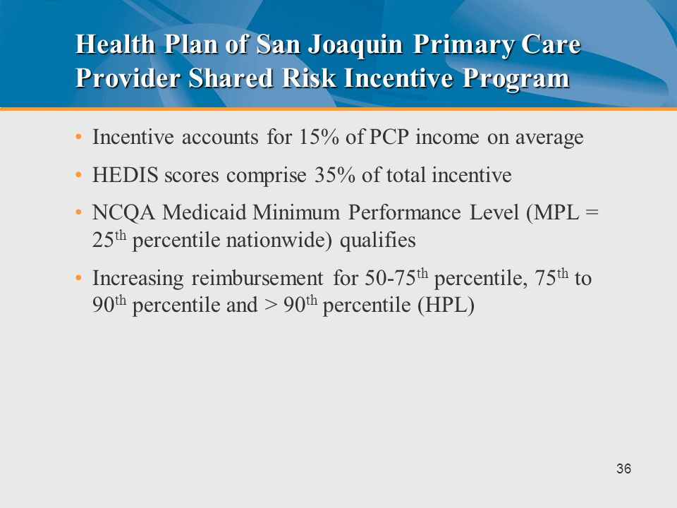 Health Plan of San Joaquin Primary Care Provider Shared Risk Incentive Program