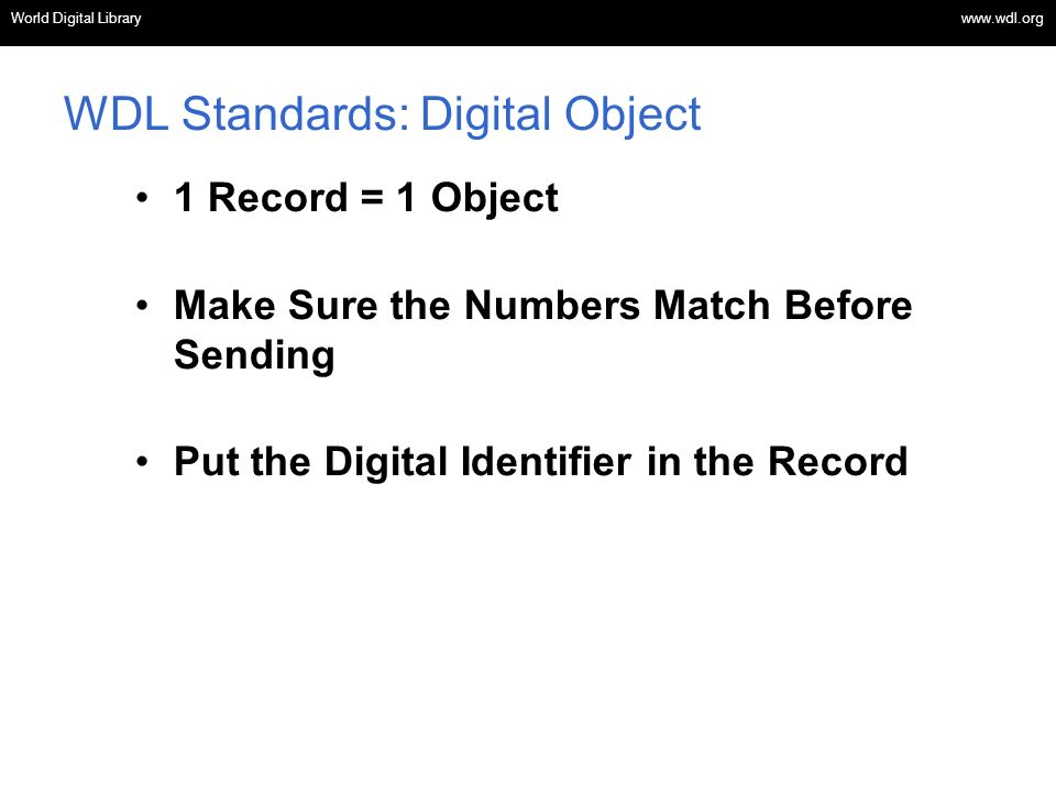 WDL Standards: Digital Object