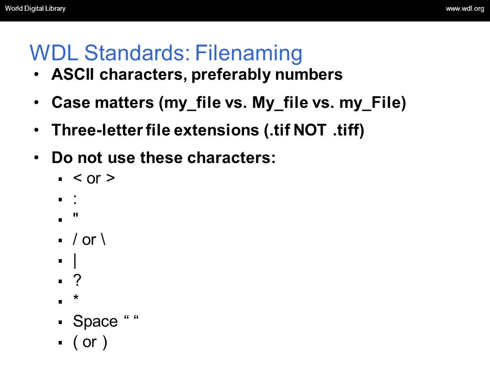 WDL Standards: Filenaming