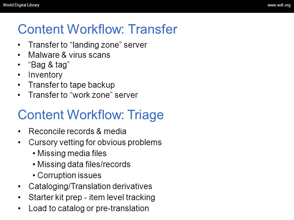 Content Workflow: Transfer