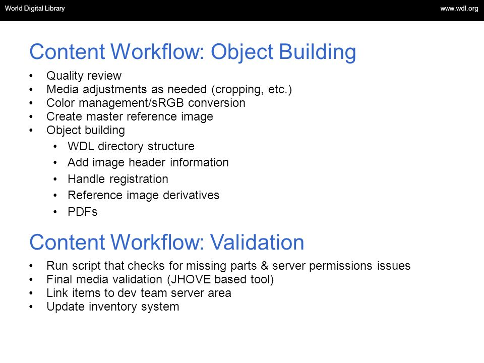 Content Workflow: Object Building