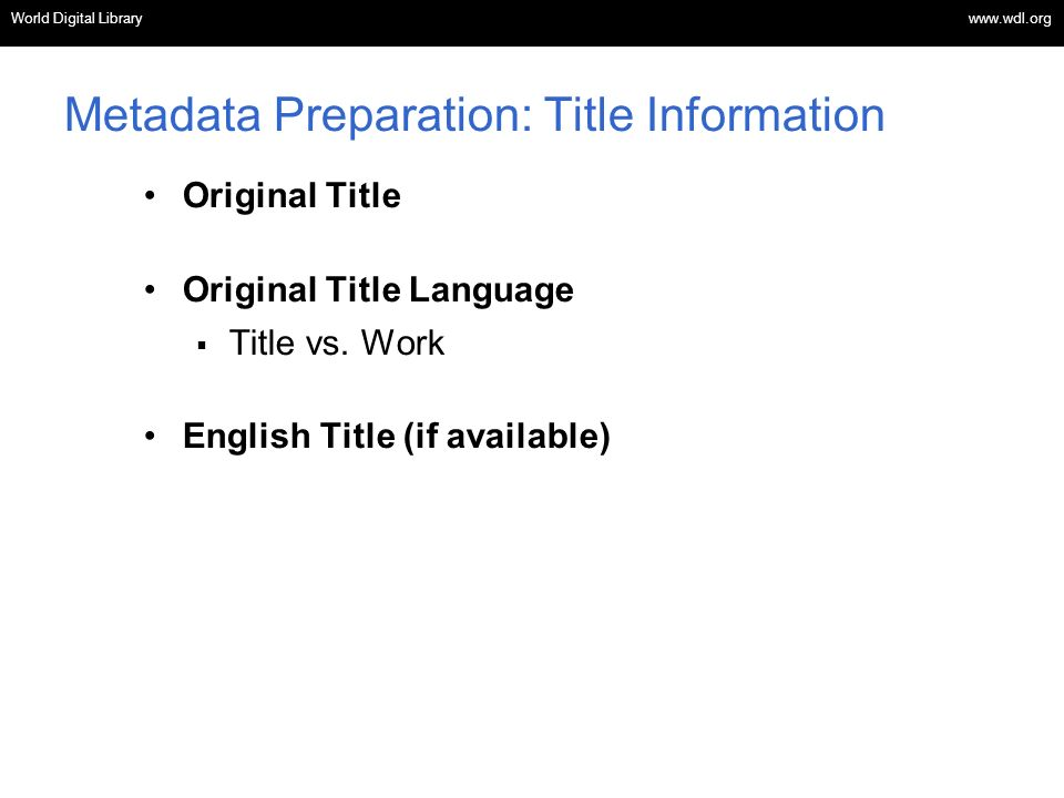 Metadata Preparation: Title Information