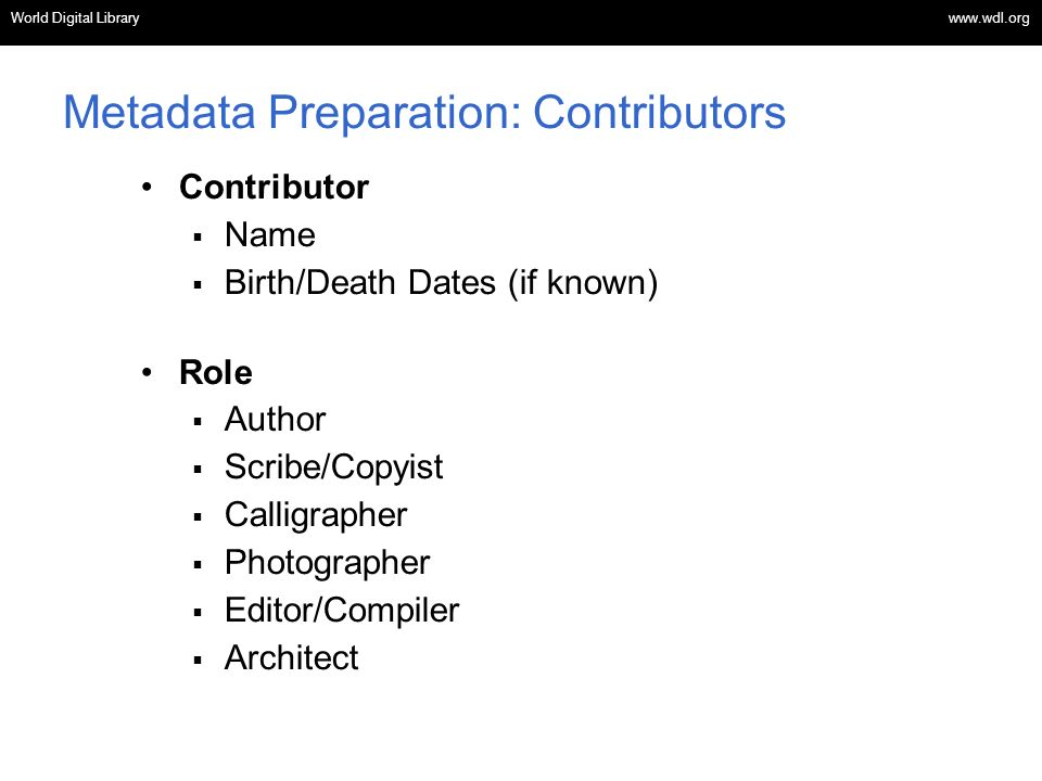 Metadata Preparation: Contributors