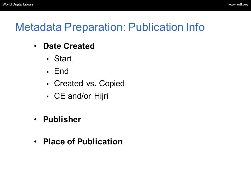 Metadata Preparation: Publication Info
