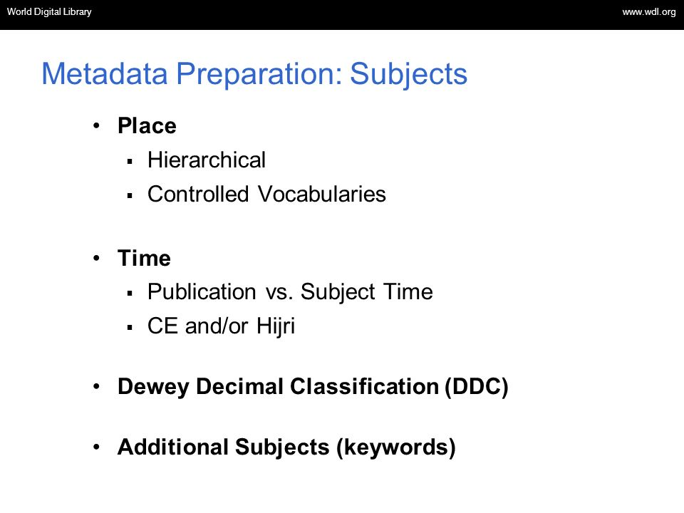 Metadata Preparation: Subjects