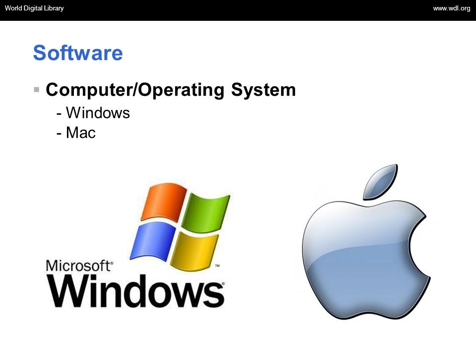 Software Computer/Operating System - Windows - Mac