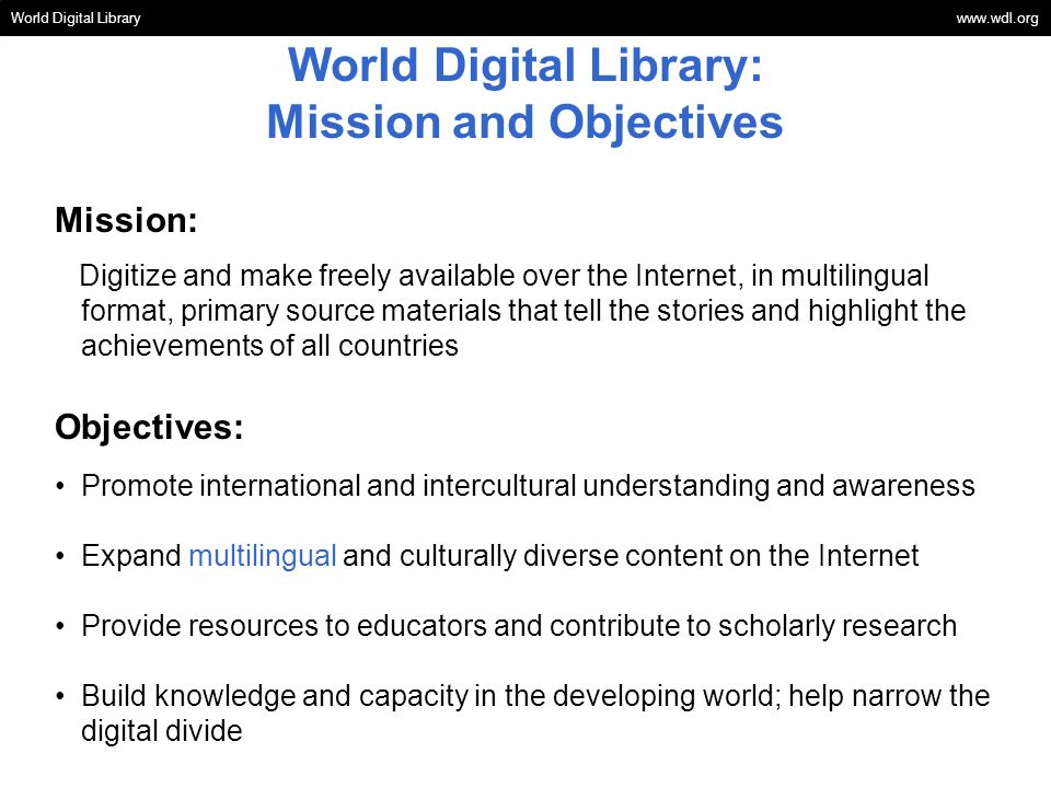 World Digital Library: Mission and Objectives