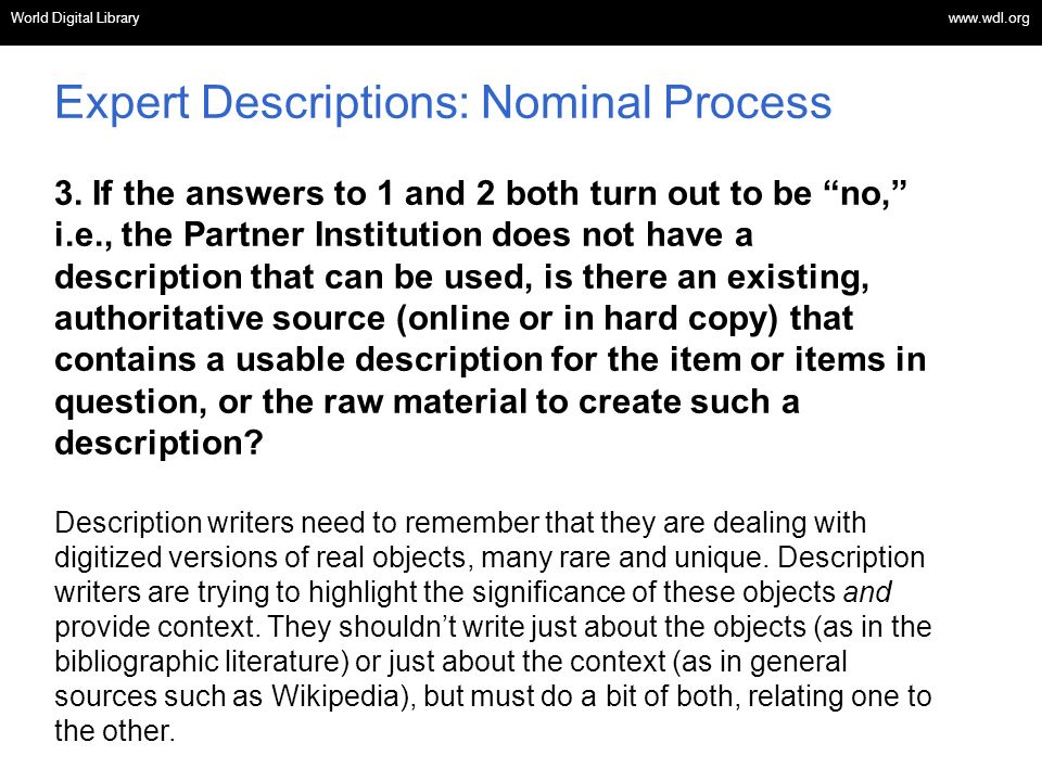 Expert Descriptions: Nominal Process