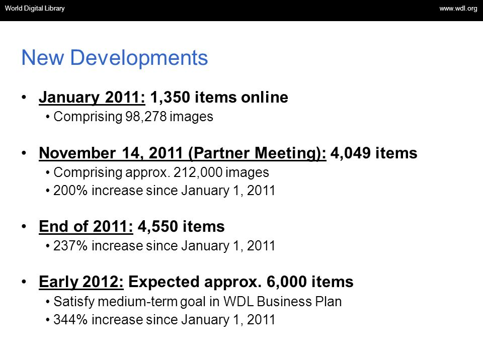 New Developments January 2011: 1,350 items online