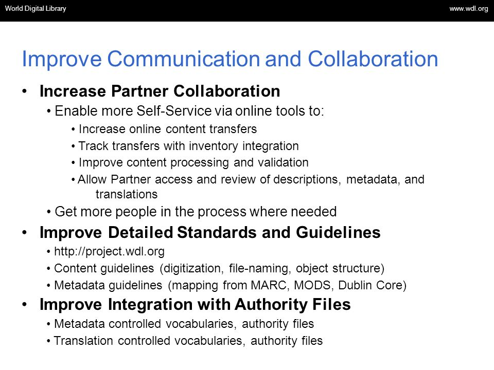 Improve Communication and Collaboration