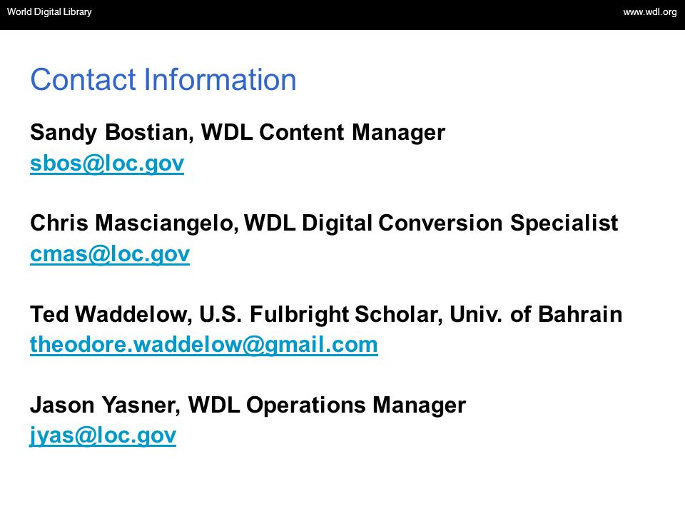 World Digital Library www.wdl.org