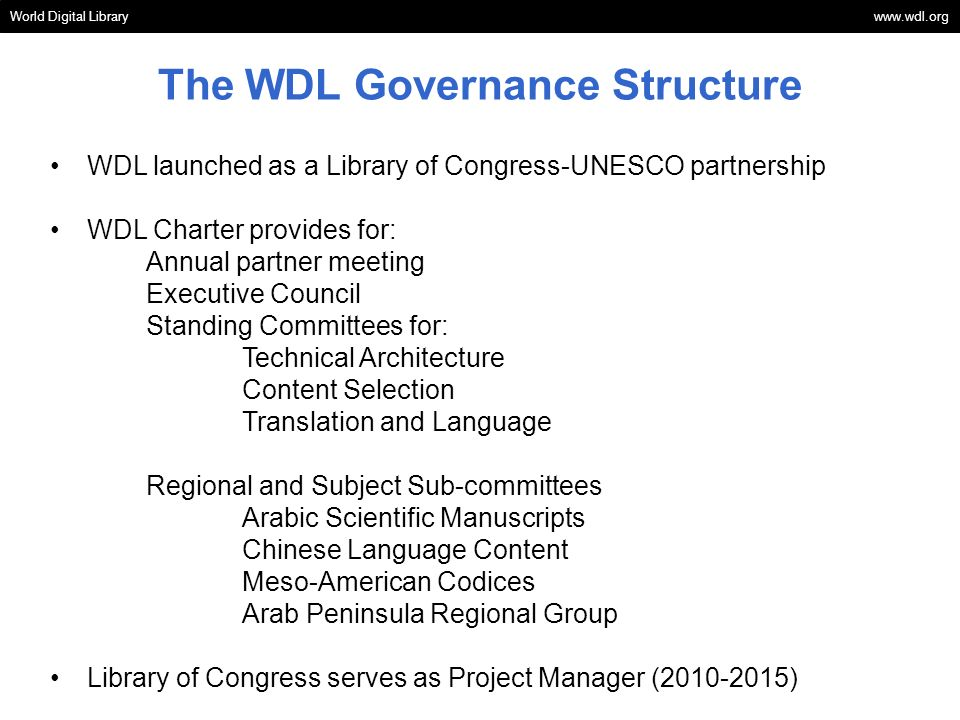 The WDL Governance Structure
