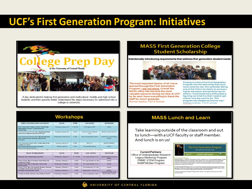 UCF's First Generation Program: Initiatives