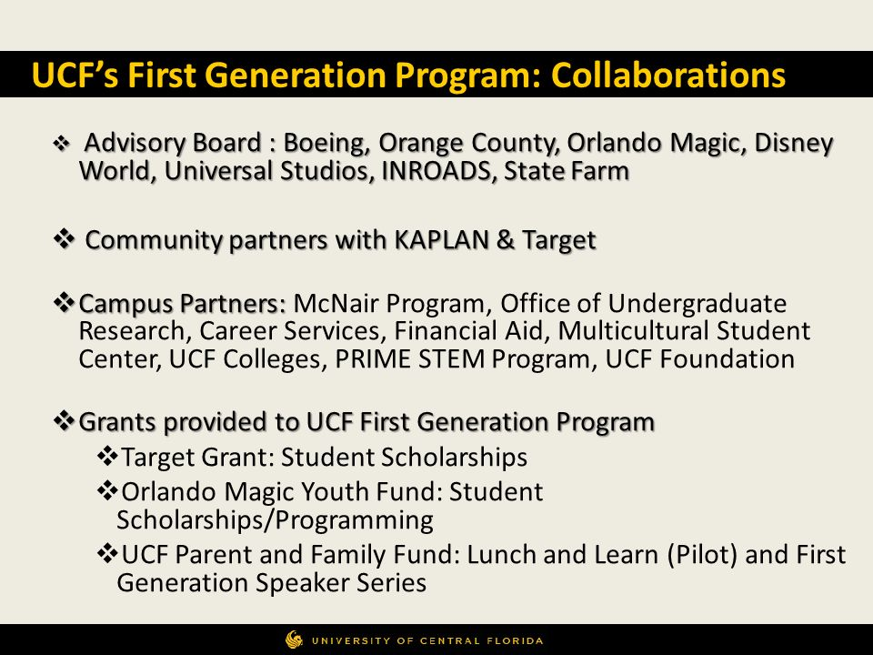 UCF's First Generation Program: Collaborations