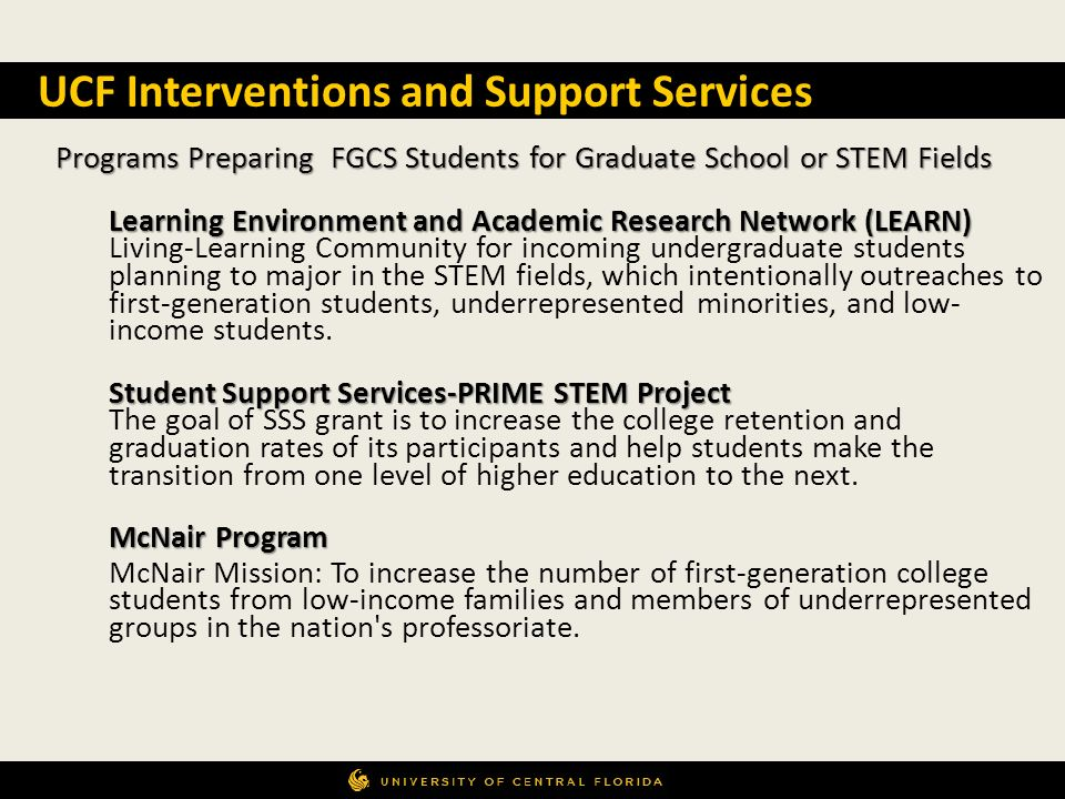 UCF Interventions and Support Services